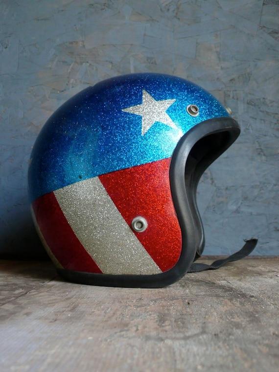 Vintage Keystone 500 Stars and Stripes Motorcycle Helmet