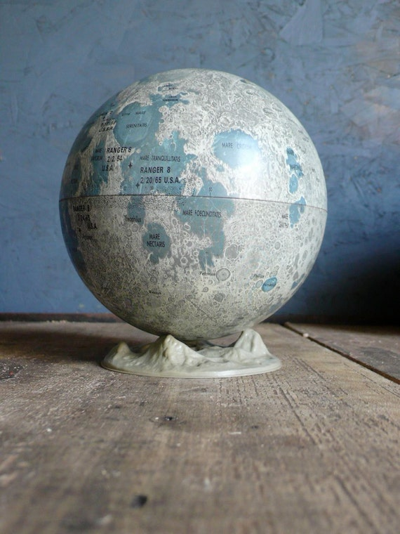Vintage Replogle Moon Globe on stand. Late 1960s