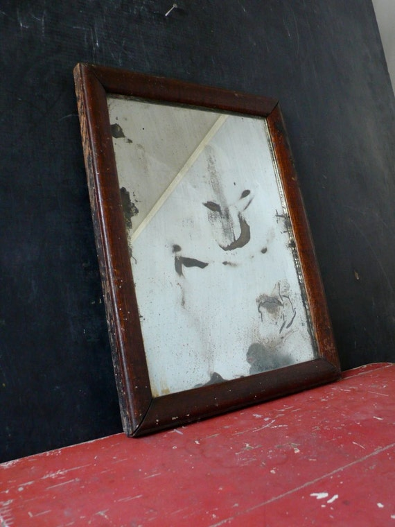 Early time-worn oak framed mirror