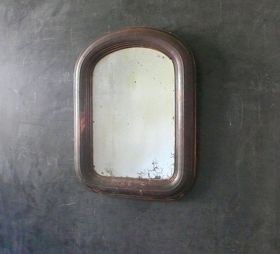 Victorian time-worn oxidized Tombstone mirror