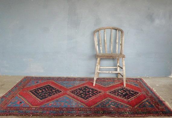 """Antique pre 1930s Persian Kurdish Rug 4' 1"""" X 6'"""