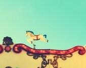 Funfair horse photography - Carrousel photo - 5''x5'' photo - 12x12cm photograph - Carnival turquoise - children home decor