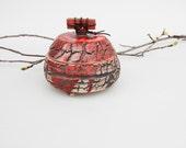 Ceramic  little box - red copper crackle surface lidded jar