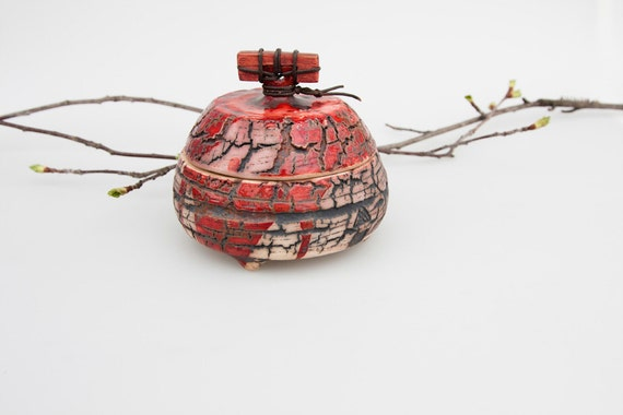 Ceramic  little box - red copper crackle surface lidded jar