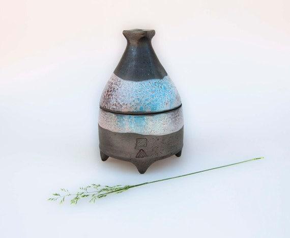 Ceramic tiny jewelry box - black blue  lidded jar