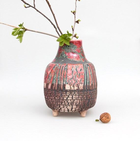 vase red ceramic flower