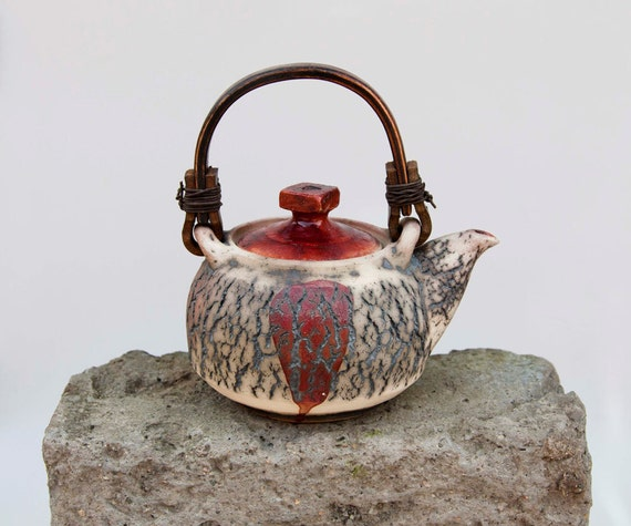 one of a kind - tea pot - red cracked surface teapot