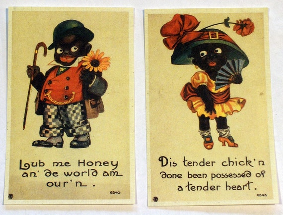 Vintage BLACK AMERICANA Color Cartoon Unused Postcard Set