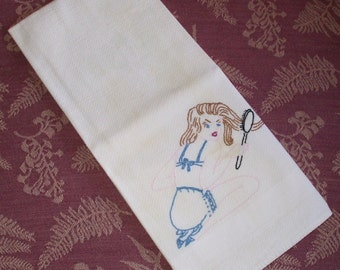 Hand or Bar Towel w Embroidered Pin-Up Girl Vintage 1940s