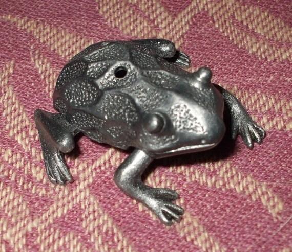 Reserved for Janneke Vintage Torino Frog Trinket Box with Frog Necklace