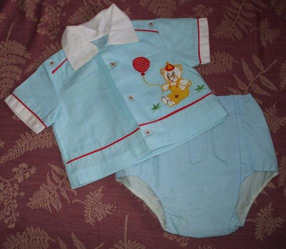 Baby Boy Outfit Vintage 1950s 60s Blue W Applique Nos