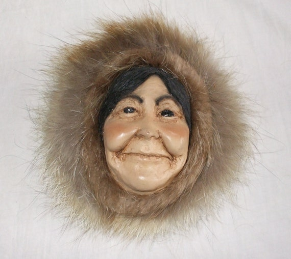 SALE Eskimo Woman Head with Real Fur - Vintage Wallhanging