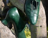 RESERVED for VintageVirgo RESERVED Vintage 80s Green Granny Oxford Brogues Lace Up Leprechaun Shoes Sz 10