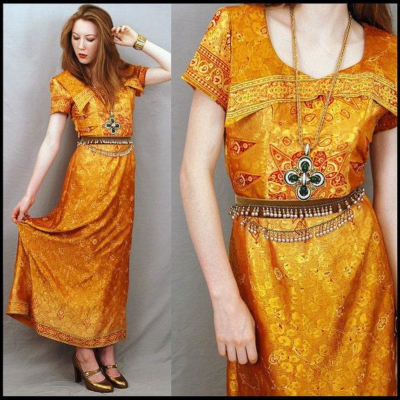 Vintage Silk Brocade Hostess Cocktail Party Maxi Dress S/XS