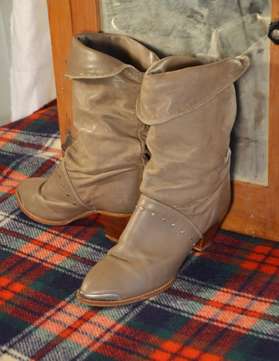 Vintage 80s Slouchy Leather Pirate Boots Club Kid Rave Grunge Rocker Boots by Zodiac 7.5B