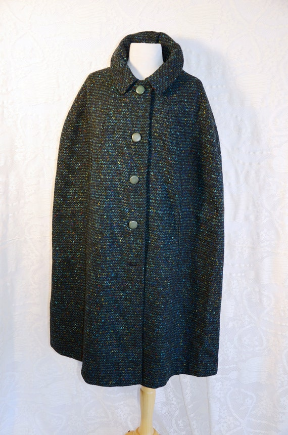Vintage 50s Irish Donegal Tweed Wool Cape Coat Sz M L