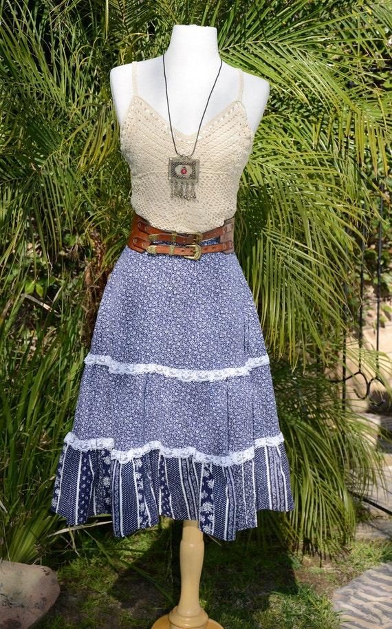 Vintage 70s Floral Calico Navy White Lace Hippie Boho Skirt Sz M