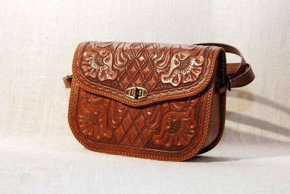 RESERVED fro Kathryn Reserved reserved Kathryn Vintage 40s 50s Floral Hand Tooled Western Boho Handbag Satchel Purse