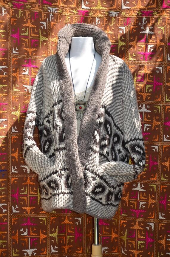 Vintage 70s Southwestern Ethnic Chunky Hand Knit Boyfriend Cardigan Sweater M/L