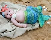 Crochet Mermaid Tail, Photo Prop Set - Newborn to 3 months - Photography Prop, Cocoon - janetlynnebl