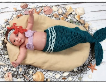 Crochet Mermaid Tail Photo Prop Set - 9months to 12 months - Photography Prop