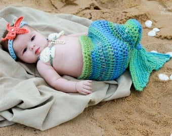 Crochet Mermaid Tail, Photo Prop Set - 6 months to 9 months - Photography Prop, Cocoon