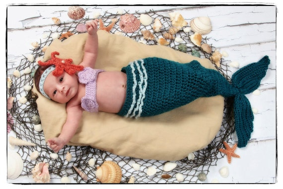 Crochet Mermaid Tail Photo Prop Set  3 months - 6 months- Photography Prop