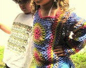 Colorful crochet sweater for girls