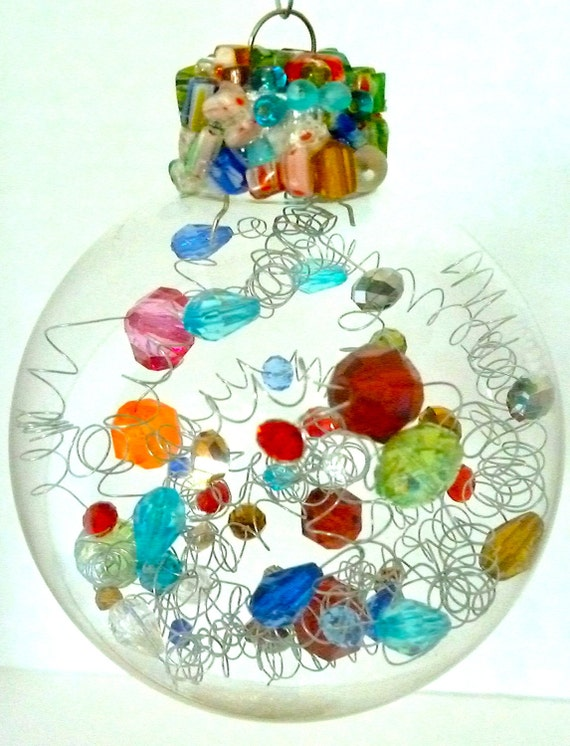 Unique beaded glass Christmas ornaments- perfect for gifts or to perfect your tree...