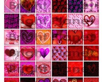 Love Heart 1.25 Square Digital Collage Sheet