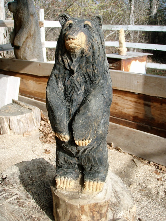 Small chainsaw carved black bear by panthercreekchainsaw