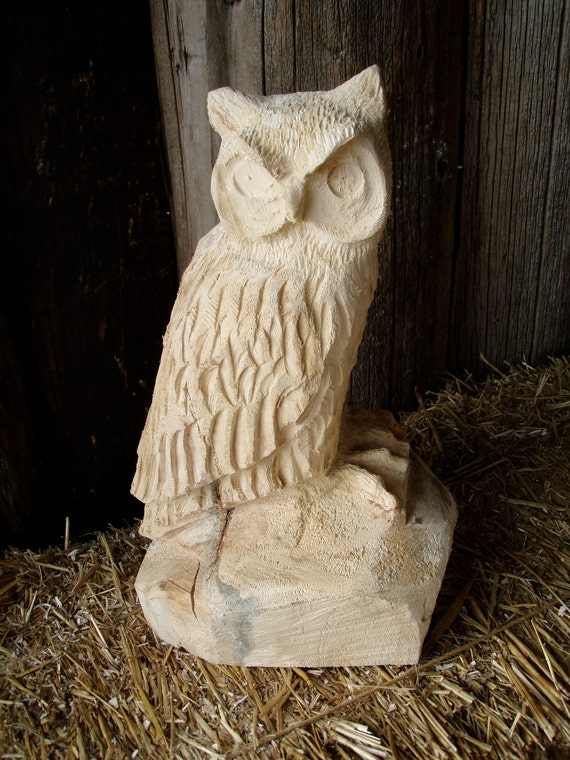 Chainsaw carved great horned owl by panthercreekchainsaw