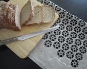 Natural Linen Hand Printed Tea Towel - Black Blossoms
