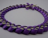 Woven Purple and Mint Green Satin Ribbon Necklace