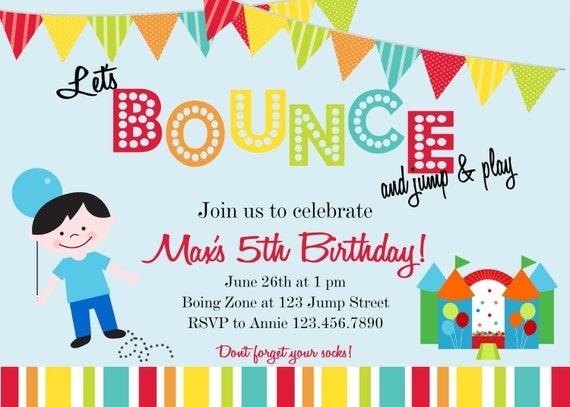 Bounce House Custom You Print Digital File Birthday Invitation by Polka Dot Bumblebee
