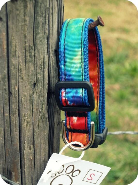 "The ""Hippie Tie Dye"" Adjustable Dog Collar: SMALL"
