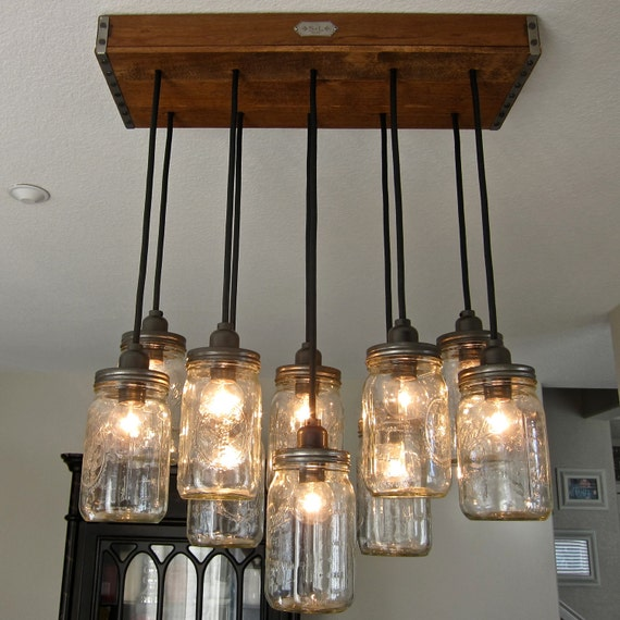 Handcrafted 14 Mason Jar Pendant Light Chandelier  w/ Rustic Style Wood Crate Canopy
