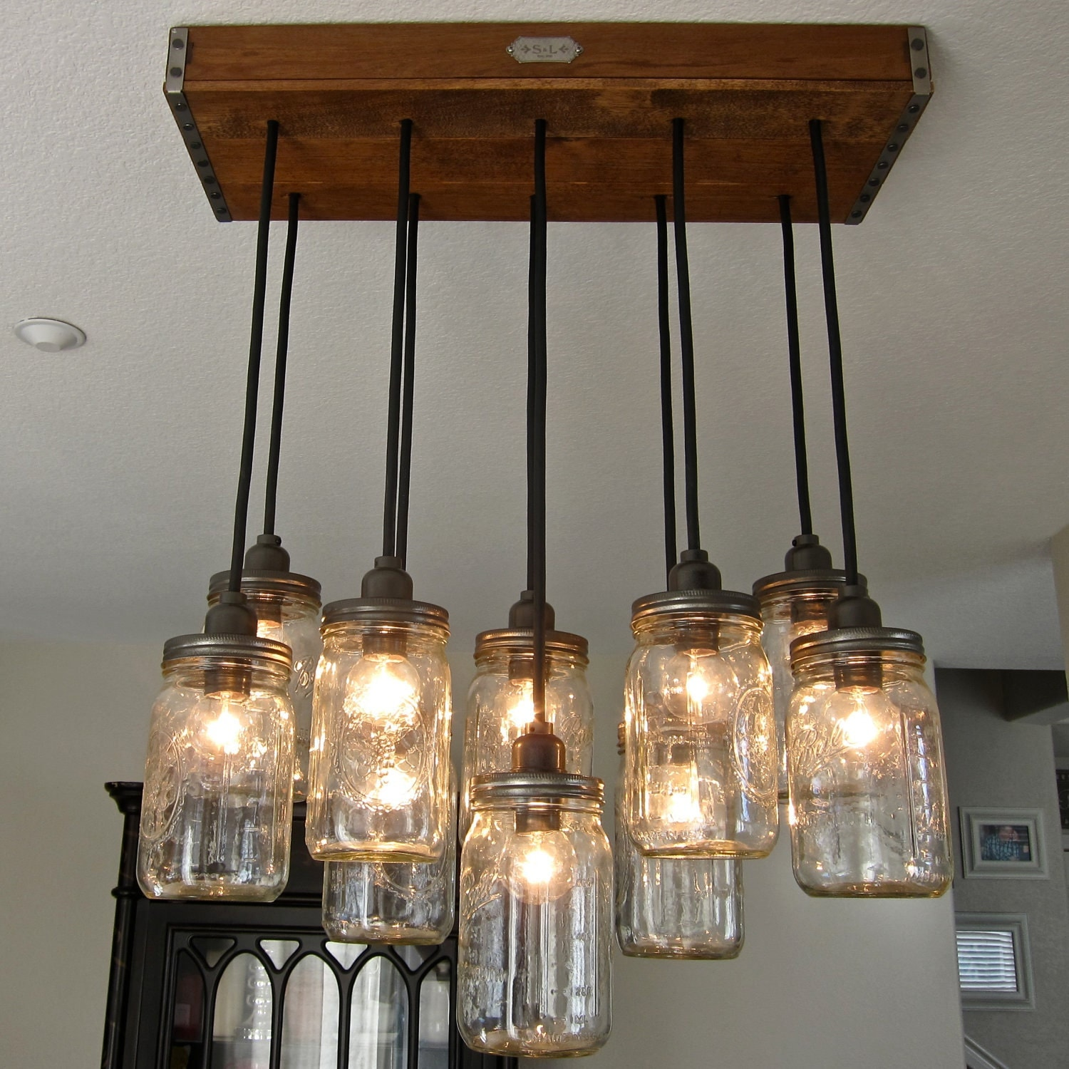 handcrafted 14 mason jar pendant light chandelier w rustic. Black Bedroom Furniture Sets. Home Design Ideas