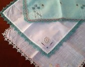 Set of Three Antique Child Hankies with tatted lace trim - TheLinenRoom