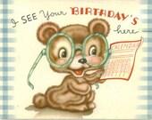 Vintage Birthday Card, UNUSED, Bear With Eyeglasses