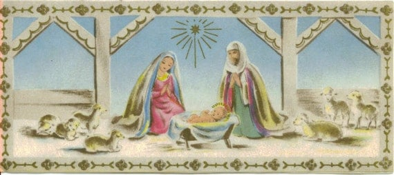Vintage 1956 Christmas Card, Nativity, Buzza Cardozo