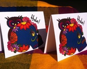 Owl Day of the Dead Greeting Cards