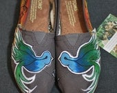 Custom Hand Painted Toms Shoes - Sparrow by the Beach theme, painted sunset with painted sparrow birds on Ash Grey Toms Shoes