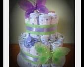 Purple & Green Butterfly Diaper Cake