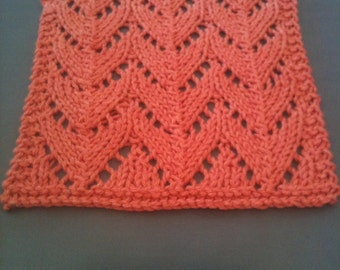 Hand Knit 100 Percent Organic Cotton Baby Wash Cloth In Dogwood Pink