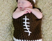 READY TO SHIP Football Hat and Cocoon set for 0-3 Months Great Photography Prop