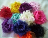 Shabby Flower Trim, You Pick 10 Single Flowers, Solids and Prints,Rosettes,  over 100 styles to choose from