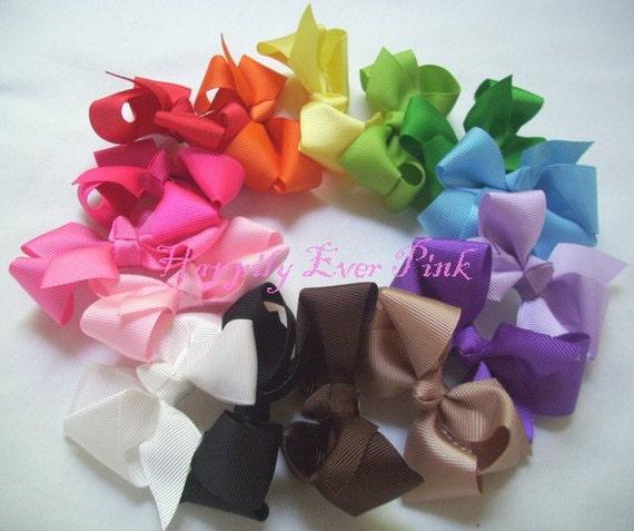 6 Boutique Grosgrain Hair Bows, You Pick the Colors, 12 colors, Bow Knot Pinwheel Bows