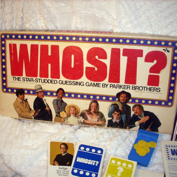 Whos It Vintage Game by Parker Brothers Family Game Night Collectible 1976 Complete Set Like the Game Guess Who Vintage Decor Whos It