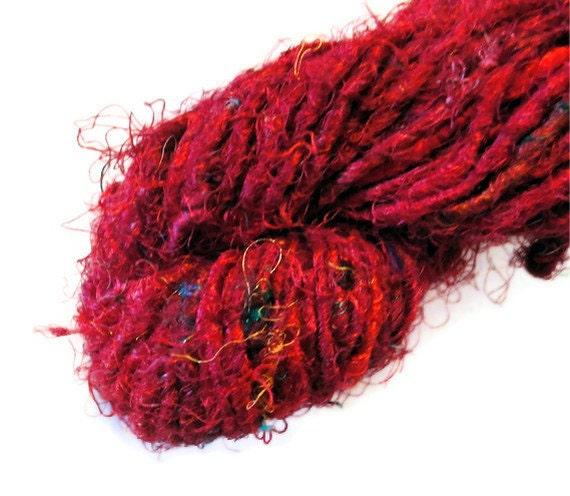Recycled Sari Silk Yarn Red Maroon